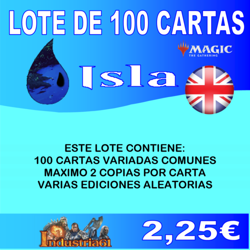 100 CARTAS COMUNES DE MAGIC - AZUL en INGLÉS