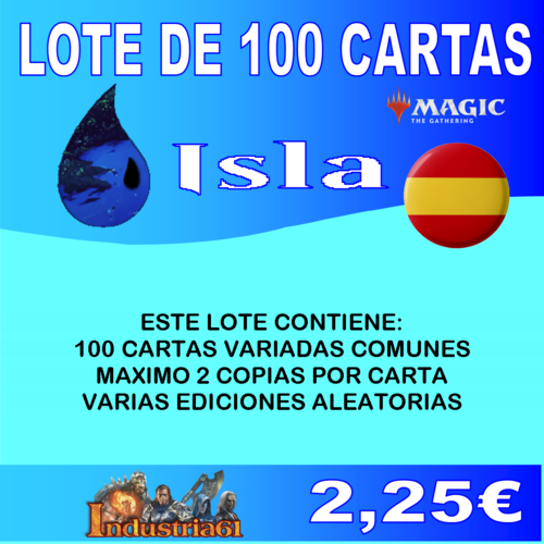 100 CARTAS COMUNES DE MAGIC - AZUL en CASTELLANO