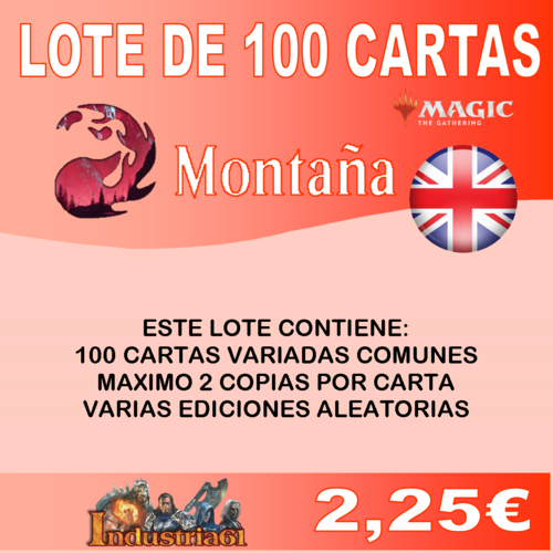 100 CARTAS COMUNES DE MAGIC - ROJO en INGLÉS