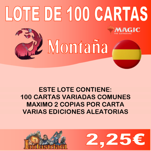 100 CARTAS COMUNES DE MAGIC - ROJO en CASTELLANO