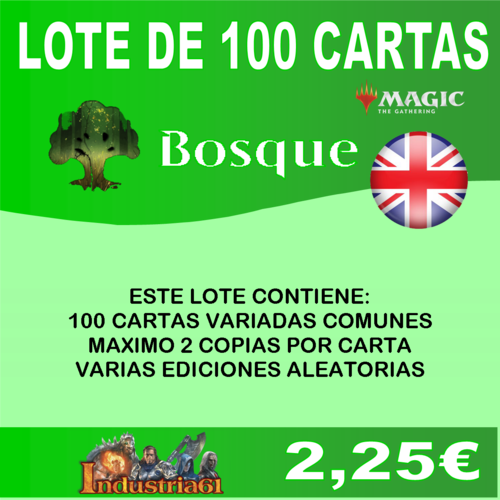 100 CARTAS COMUNES DE MAGIC - VERDE en INGLÉS