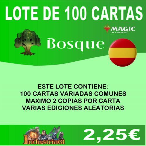 100 CARTAS COMUNES DE MAGIC - VERDE en CASTELLANO