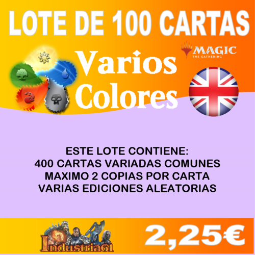 100 CARTAS COMUNES DE MAGIC - VARIOS COLORES en INGLÉS