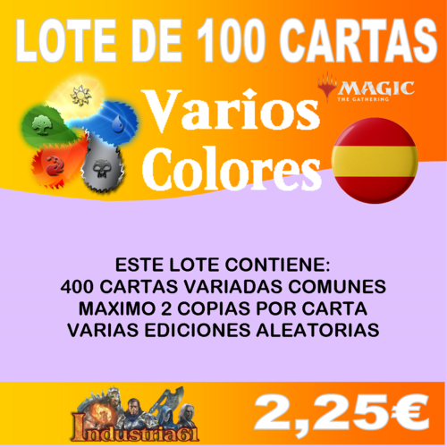 100 CARTAS COMUNES DE MAGIC - VARIOS COLORES en CASTELLANO