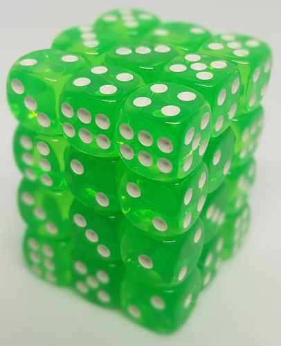 36 DADOS 12mm - Transparent Grass Green